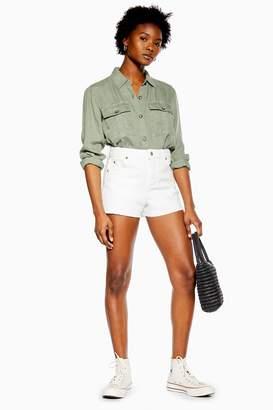 Topshop Womens Petite White Denim Mom Shorts - White