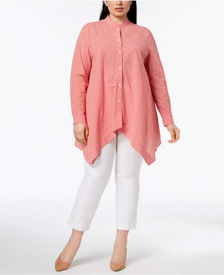 Anne Klein Plus Size Cotton Shirt with Asymmetrical Hem