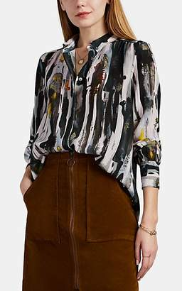 Leo & Sage Women's Abstract-Print Silk Button-Down Shirt
