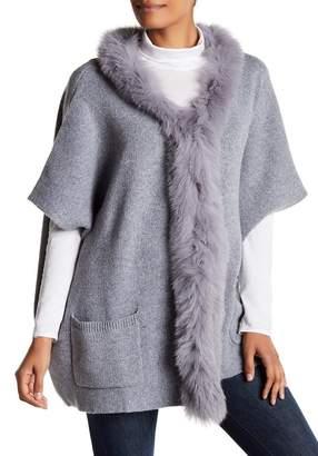 DOLCE CABO Genuine Fox Fur Trim Cardigan