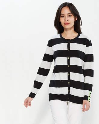 Joan Vass Petite Striped Longline Cardigan