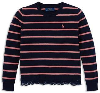 Ralph Lauren Girls' Lace-Trimmed Striped Sweater - Big Kid