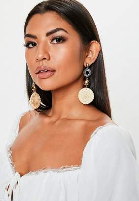 Missguided Sand Straw Detail Droplet Earrings