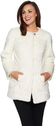 Dennis Basso Platinum Collection Faux Fur Topper Coat