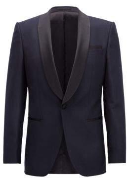 BOSS Hugo Slim-fit dinner jacket silk shawl lapels 40R Open Blue