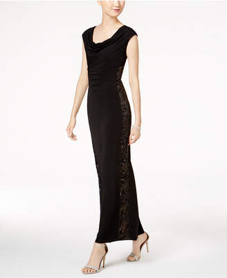 Connected Petite Sequined Illusion-Panel Gown