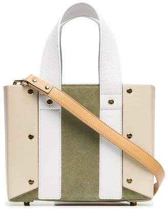 Yuzefi green open leather and suede tote