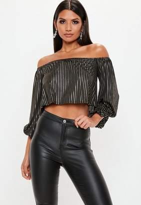 Missguided Black Metallic Stripe Bardot Top