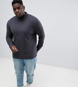 Original Penguin Big & Tall chunky rib mouline long sleeve polo slim fit embroidered logo in dark gray marl