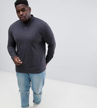 Original Penguin Big & Tall chunky rib mouline long sleeve polo slim fit embroidered logo in dark grey marl