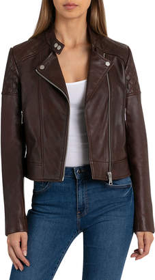 Bagatelle Quilted Leather Moto Jacket, Chestnut