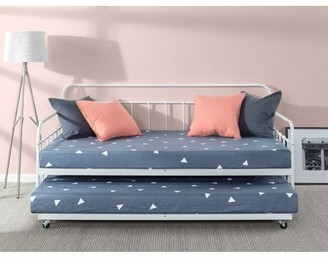 Zinus Florence Metal Twin Daybed with Trundle and Steel Slats