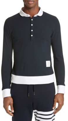 Men's Thom Browne Long Sleeve Pique Polo $450 thestylecure.com