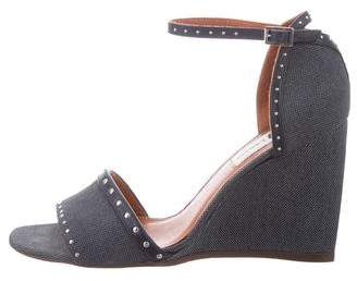 Lanvin Denim Studded Wedges