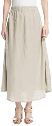Sicily Shanty Slit-Sides A-Line Long Linen Skirt