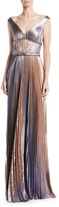 J. Mendel V-Neck Empire-Waist Pleated Metallic Evening Gown