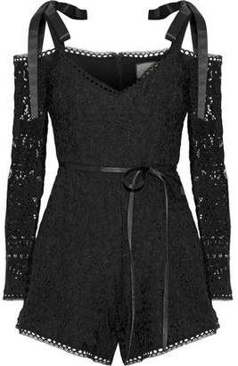 Alexis Kathryn Cold-Shoulder Corded Lace Playsuit
