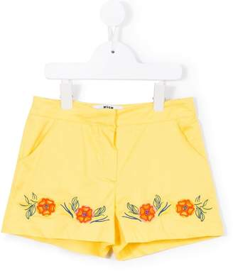 MSGM floral embroidery shorts