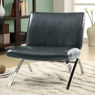 Monarch Specialties Leather Look Accent Chair, Black with Chrome Metal Legs