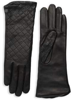 Agnelle Plain Quilted Leather Gloves