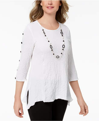 Alfred Dunner Petite Textured Necklace Tunic