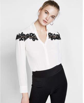 Express Slim Fit Lace Inset No Pocket Portofino Shirt $59.90 thestylecure.com