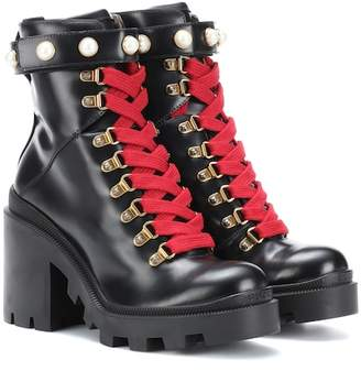 Gucci Embellished leather ankle boots