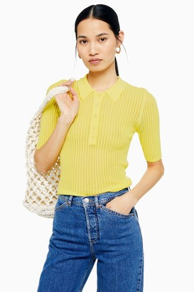Womens **Yellow Polo Knit T-Shirt By Yas - Yellow