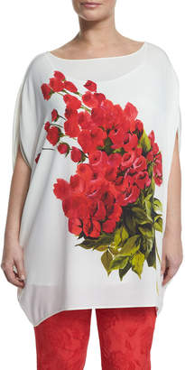 Marina Rinaldi Large Flower Long Blouse, Plus Size