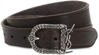 Saint Laurent 30mm Leather Belt With Logo