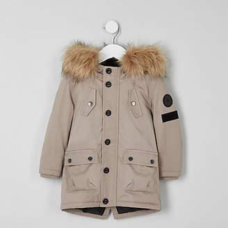 River Island Mini boys stone faux fur hood parka coat