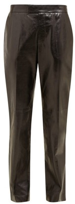 Helmut Lang Mid Rise Leather Trousers - Womens - Black