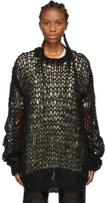Junya Watanabe Black Hand-Knit Mohair Sweater