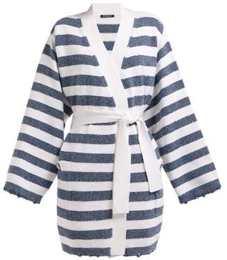 Balmain Sequinned Striped Knit Cardigan - Womens - Blue White