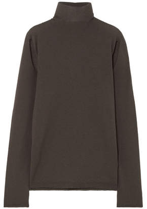 Rick Owens Cutout Wool Turtleneck Sweater - Dark gray