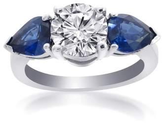 14K White Gold Round Cut Diamond Natural Blue Ceylon Sapphire Ring Size 8.5