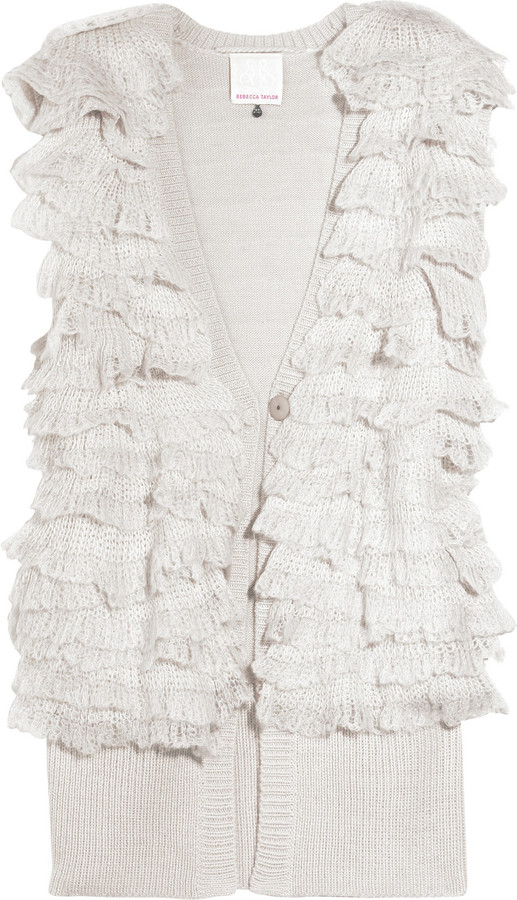 Rebecca Taylor Ruffled mohair and wool-blend gilet