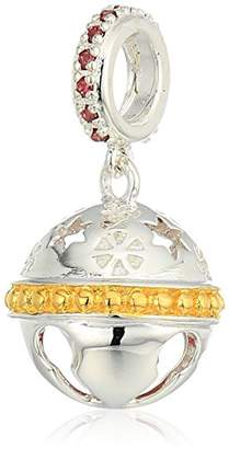 Swarovski Chamilia Jingle Bell - Dark Red Zirconia And Gold Electroplating Charm