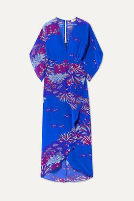Jaline - Katherine Printed Silk Crepe De Chine Midi Dress - Blue