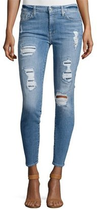 7 For All Mankind The Ankle Skinny Destroyed Jeans w/Sequins, Light Blue $249 thestylecure.com