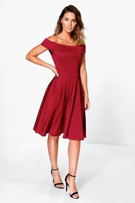 boohoo Off The Shoulder Midi Dress
