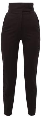 Sara Battaglia High Rise Jersey Trousers - Womens - Black
