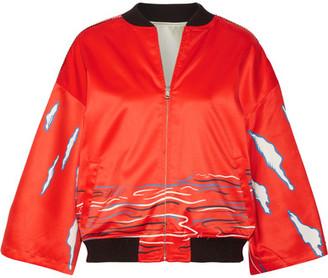 Reversible Printed Silk-satin Bomber Jacket - Tomato red