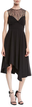 Halston Sleeveless Dress w\/ Knot & Lace Details