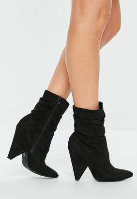 Missguided Black Ruched Cone Heel Ankle Boots