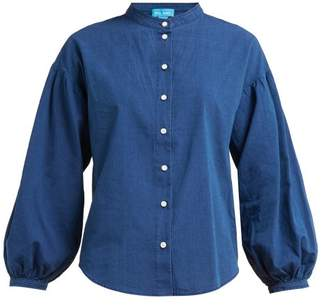 MiH Jeans Colt Band Collar Cotton Chambray Shirt - Womens - Navy