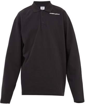Vetements Long-sleeved logo-print piqué polo shirt