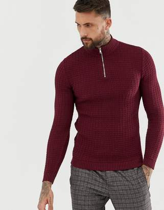 Asos Design DESIGN muslce fit waffle textured sweater in burgundy