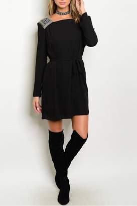Esley Collection Embroidered Black Dress
