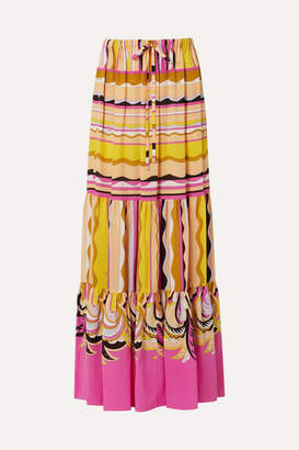Emilio Pucci Printed Silk Crepe De Chine Maxi Skirt - Yellow